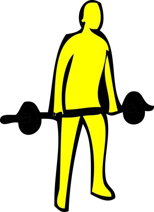 a yellow man with a barbell drawing