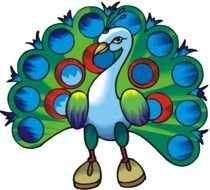 Cartoon peacock with the colorful feathers clipart