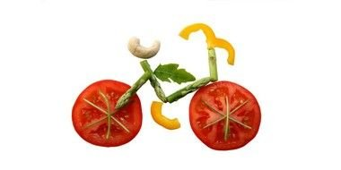Healthy Snack, bicycle formed by pieces of vegetables