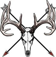 drawn deer skull and two arrows
