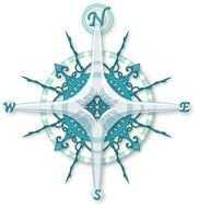 Compass Rose blue drawing