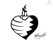 Black and white clipart of tattoo with the candle on the heart