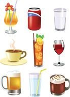 Different colorful beverages in the glasses clipart