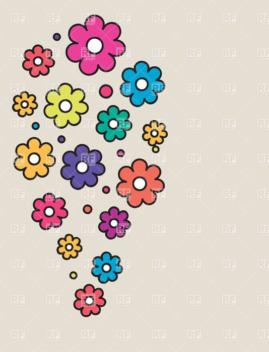 Drawing of the colorful daisy flowers clipart