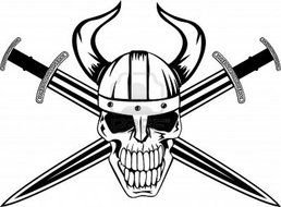 skull in a helmet with horns and swords