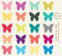 Colorful Butterfly Clip Art N17