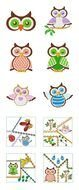Different colorful owls clipart
