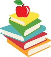 painted red apple on a multi-colored stack of books
