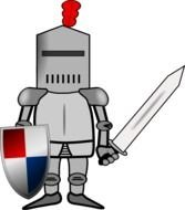 drawn knight in armor with a sword