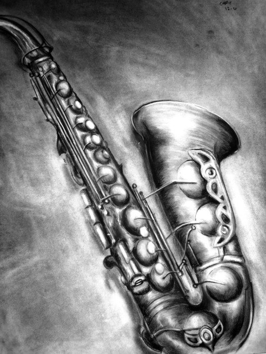 Saxophone, drawing, black and white Wallpaper