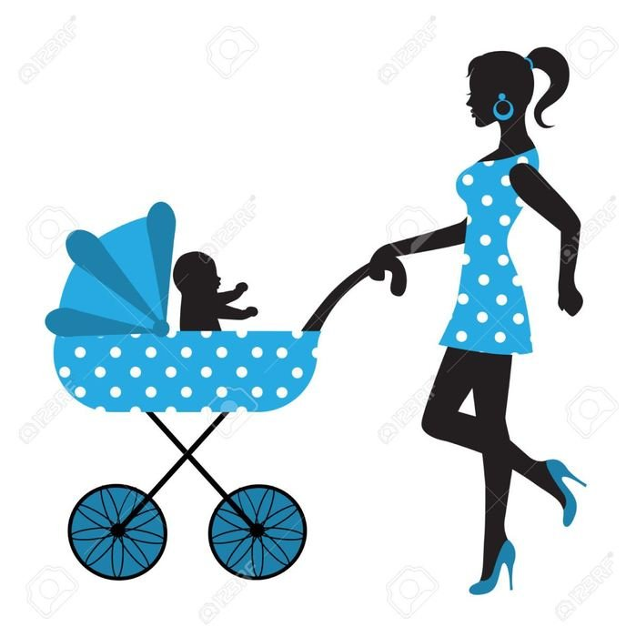 Mother is walking with the baby clipart