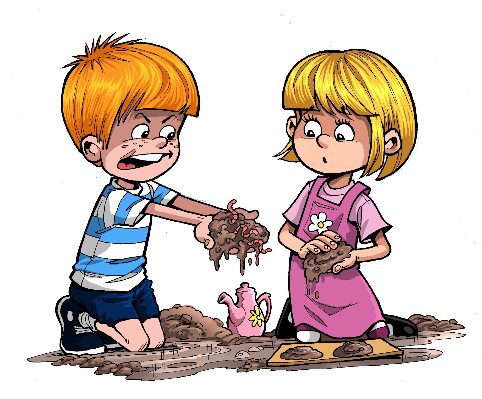 Cartoon Kids Playing With Mud Drawing Free Image