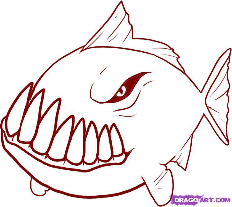 Cute piranha drawing
