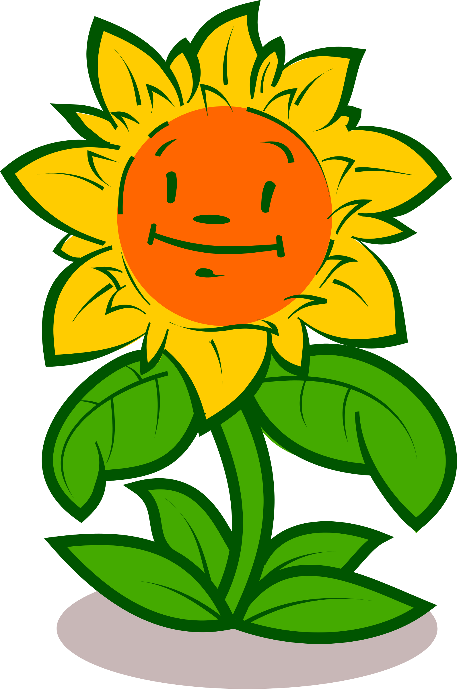 Cute Cartoon Flowers With Faces Drawing Free Image