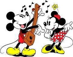 singing mickey mouse near minnie
