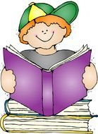boy reading purple book drawing