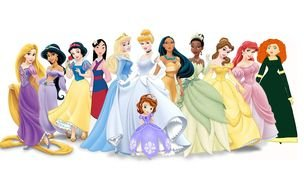 disney girl characters standing together, drawing
