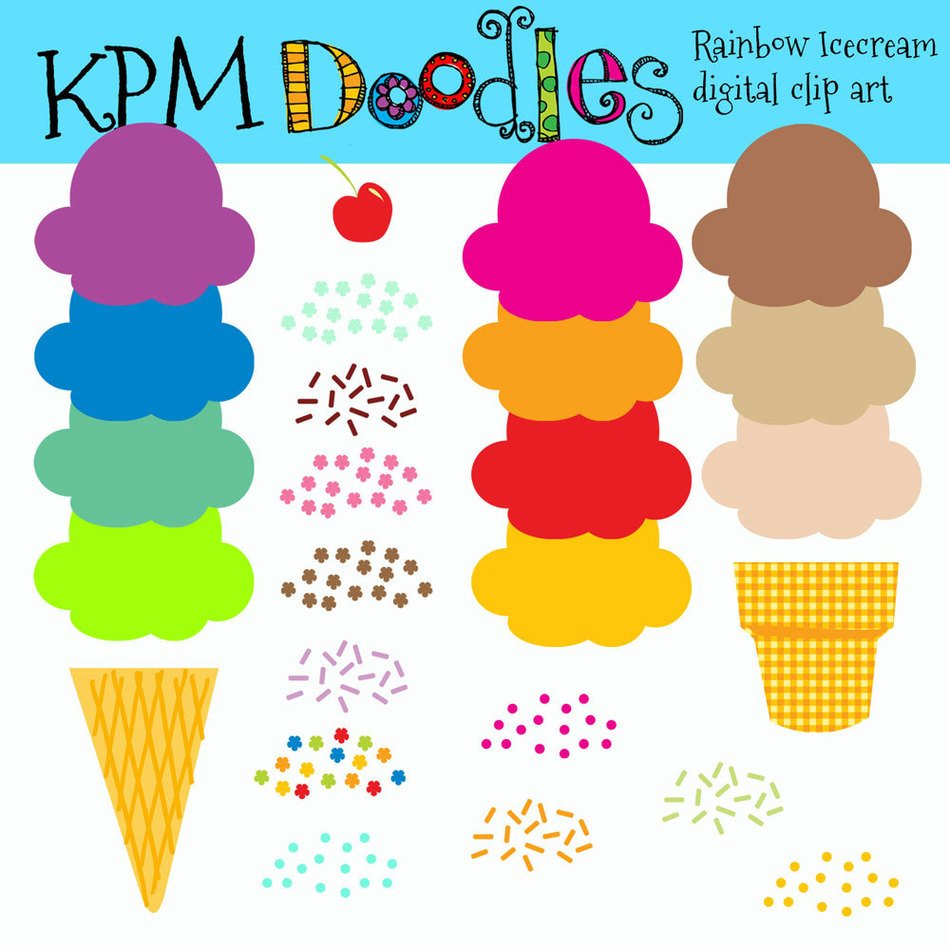 Colorful ice cream in the cones clipart