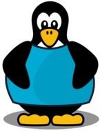drawing of a penguin in blue clothes