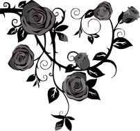 Black and white drawing of the roses with the leaves black leaves clipart