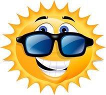 funny sun in sunglasses as a graphic illustration