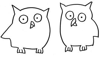 two cartoon owls, simple outline