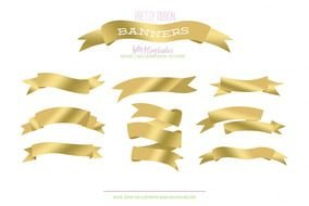 Gold Ribbon Banner Clip Art N10