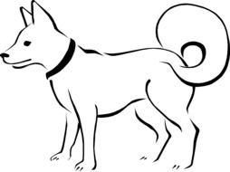 Black and white drawing of a beautiful and cute dog clipart