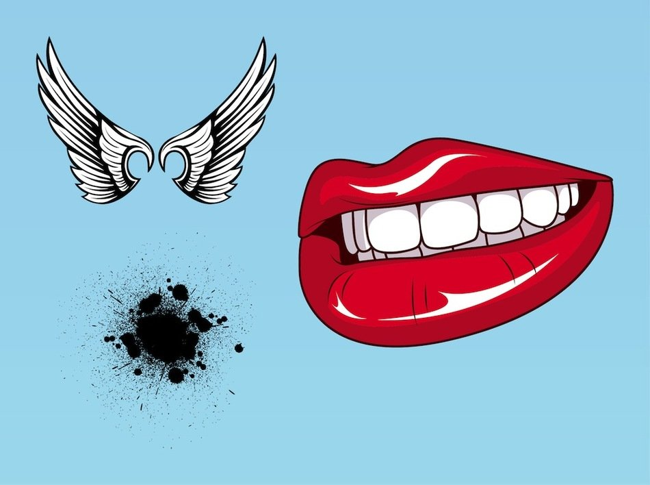 painted red lips, white wings and black spot on a blue background