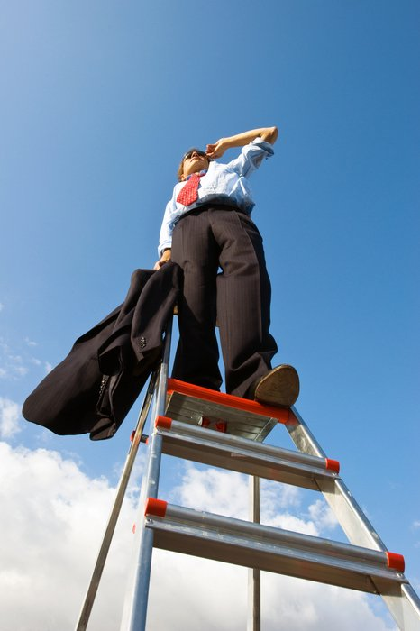 Business Vision, man on ladder at sky