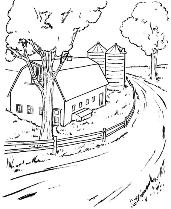 black and white drawing of a road near a barn