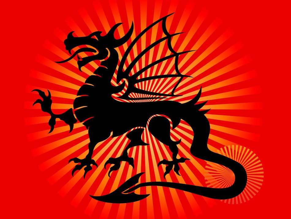 Chinese Dragon on the red background