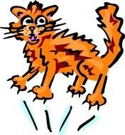 Scared Cat Clip Art drawing