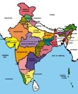 India, colorful Political Map With States