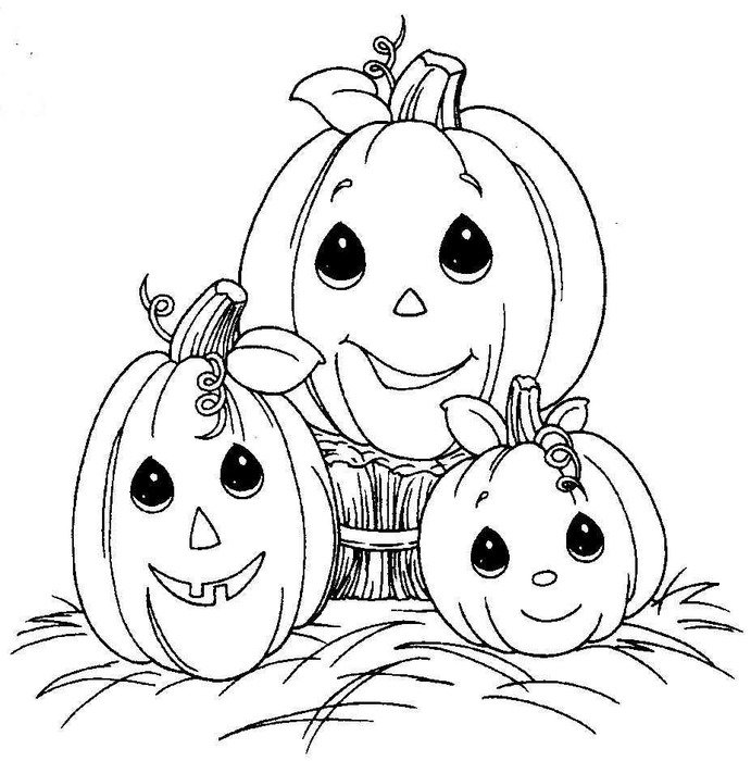 coloring page with Halloween pumpkins