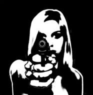 black and white image of a girl with a gun