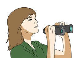 girl with binoculars as a graphic illustration