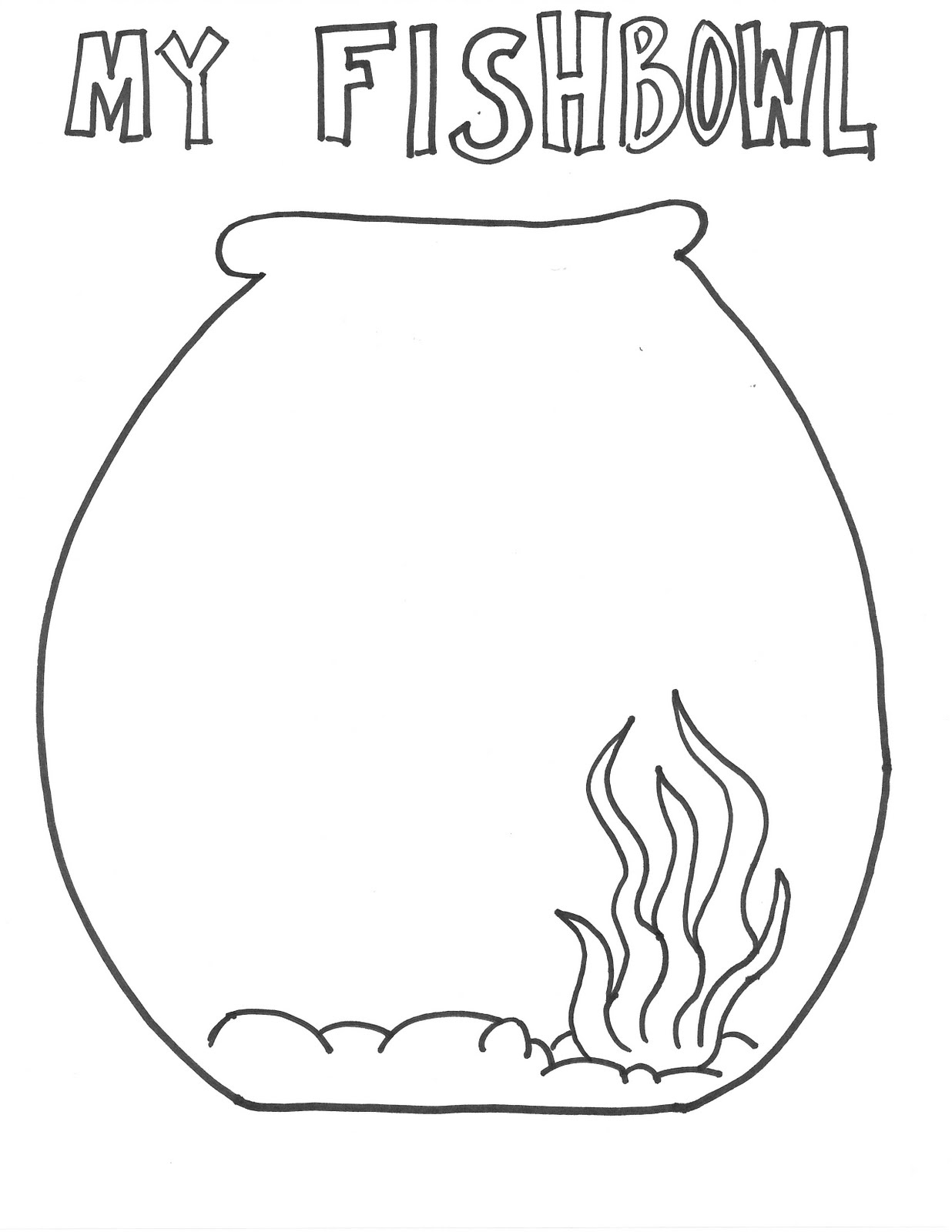 Fish Bowl Coloring Page N7 Free Image