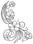 Black and white drawing of the blossoming flowers clipart
