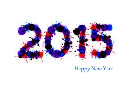 Happy New Year 2015 blue text drawing
