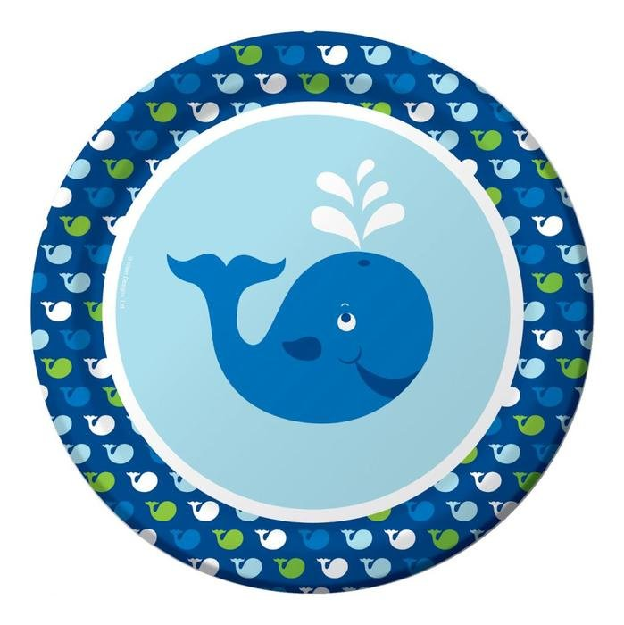 cartoon whale in a blue circle