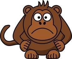 Sad Cartoon Monkey N6