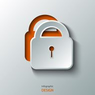 Lock Icon illustration red white
