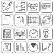 Doodle business icon set in black and white