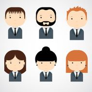 Set of colorful office people icons Businessman Businesswoman