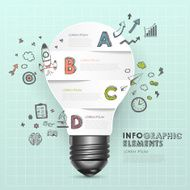 light bulb abstract with doodle infographic elements