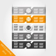 orange and grey infographic labels with rings