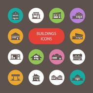 Set of flat design buildings pictograms different houses
