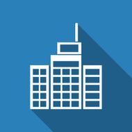 Building Icon blue background