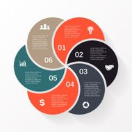Vector circle arrows infographic diagram 6 options